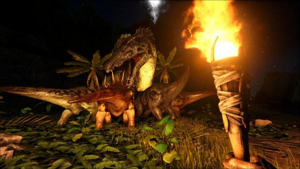 恐竜同士の争い