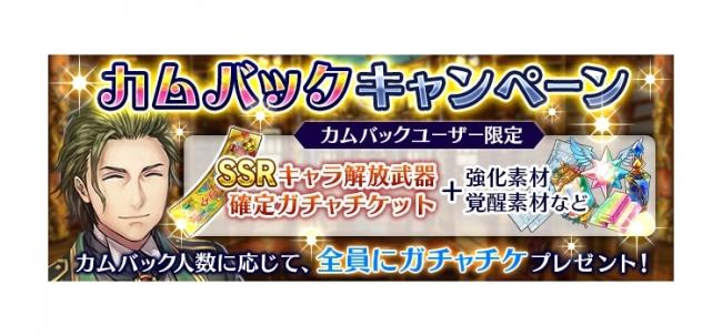 SSRキャラ解放武器確定チケットなどが入手できる「カムバックキャンペーン」も!
