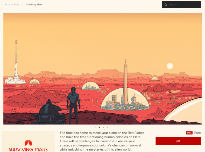 Epicストアにて『Surviving Mars』が無料配布中!