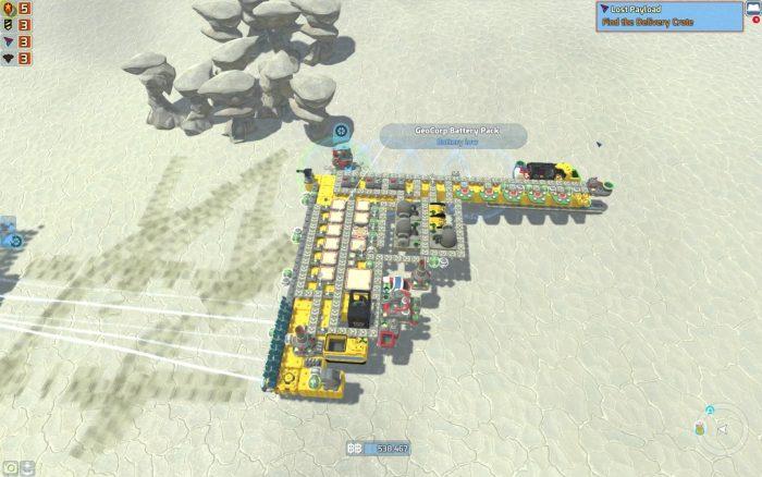 コンベアをつなげた巨大な工場のような拠点。